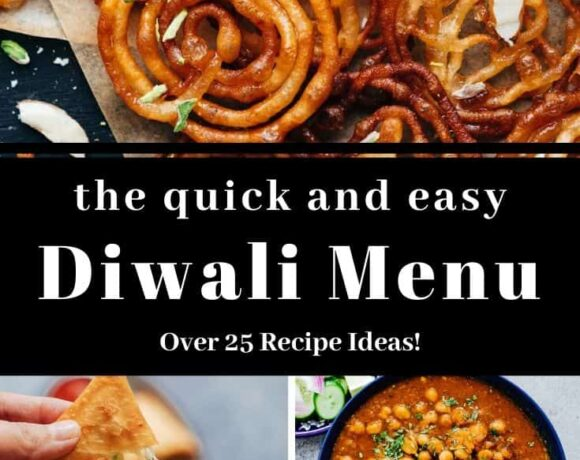 Diwali Recipes picture collage with text overlay