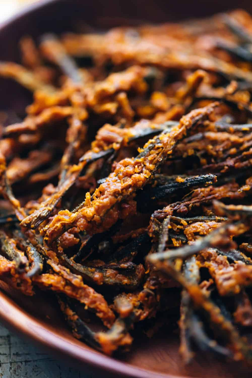 Closeup of baked kurkuri bhindi