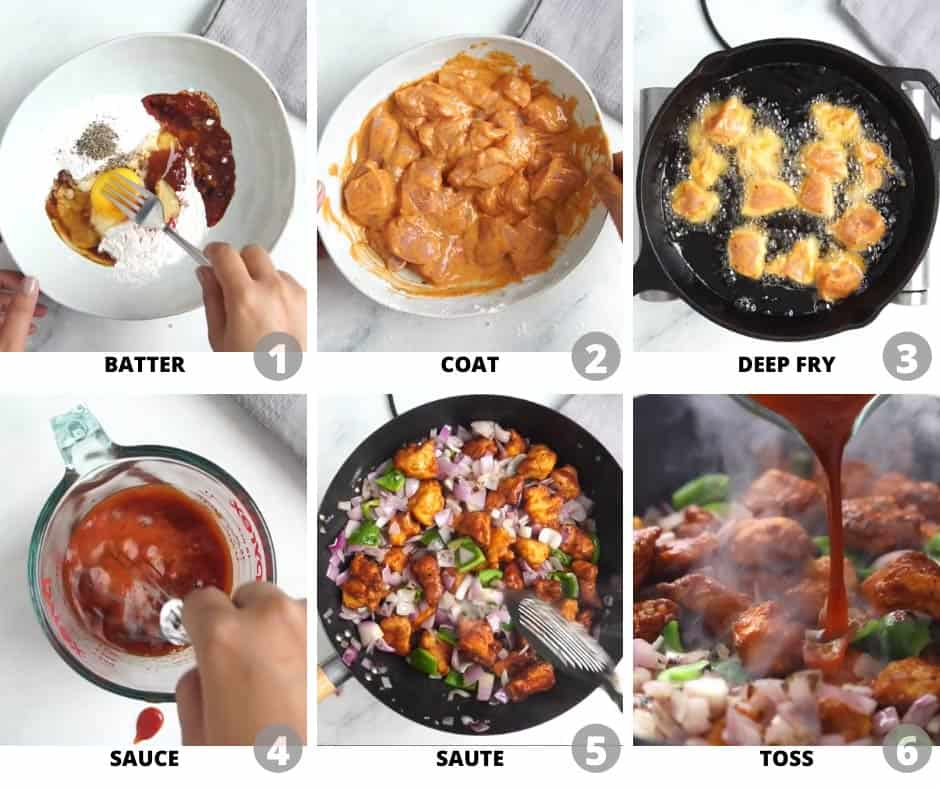 Step by step pictures to show you how to make chilli chicken dry