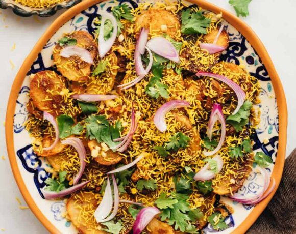 Easy Aloo Chaat - delhi style served on a plate with sev on the side