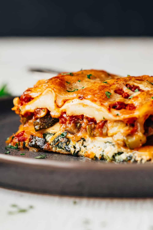 Closeup of the layers of vegetarian lasagna