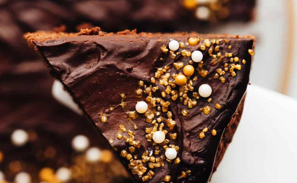 A slice of eggless chocolate cake