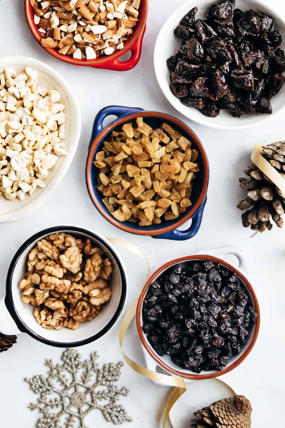 Dry fruits and nuts for christmas plum cake or fruit cake