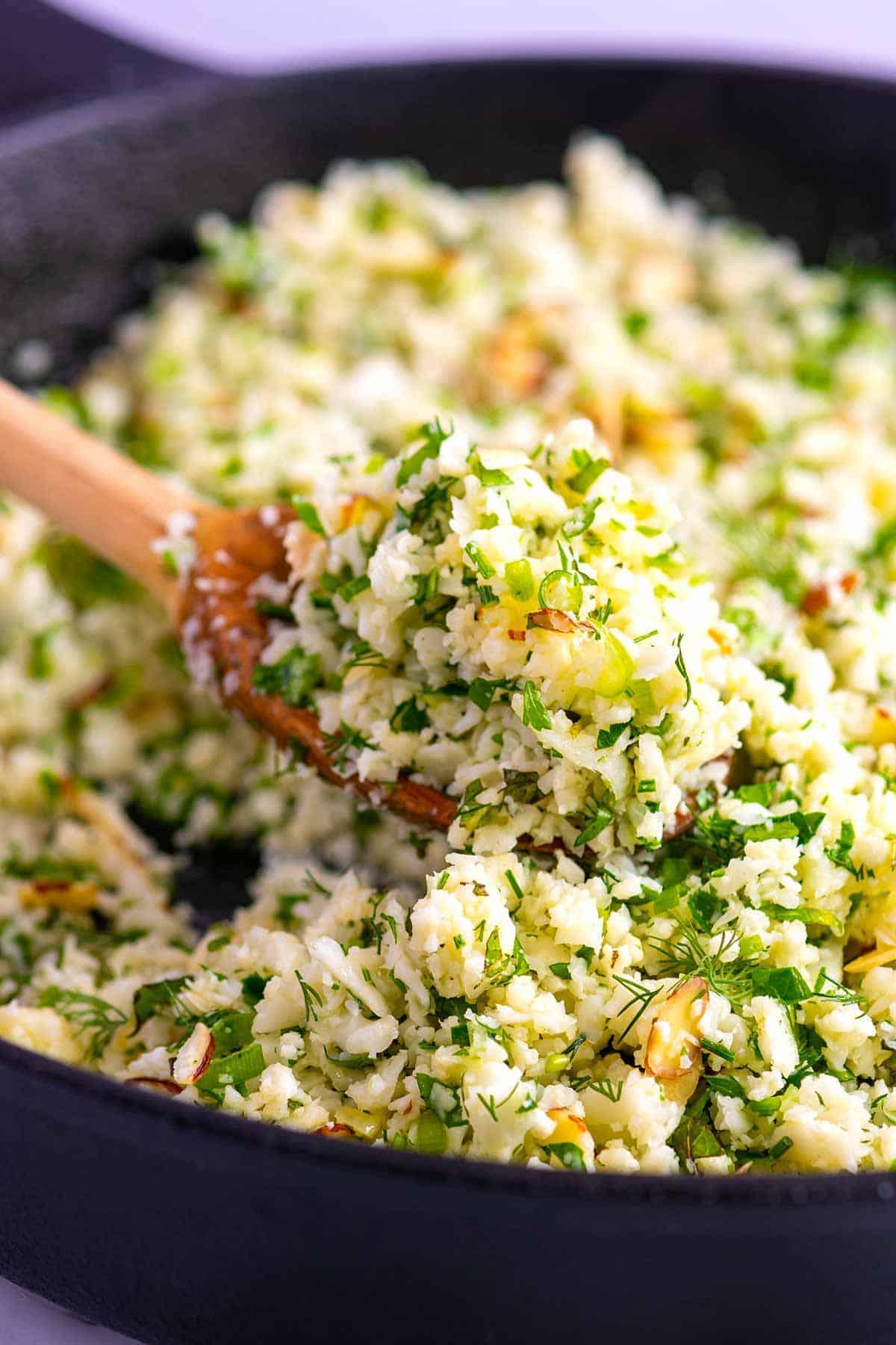 garlic herb cauliflower rice - healthy cauliflower recipes
