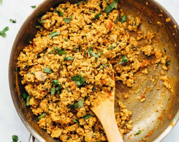 Street style egg bhurji in a frying pan