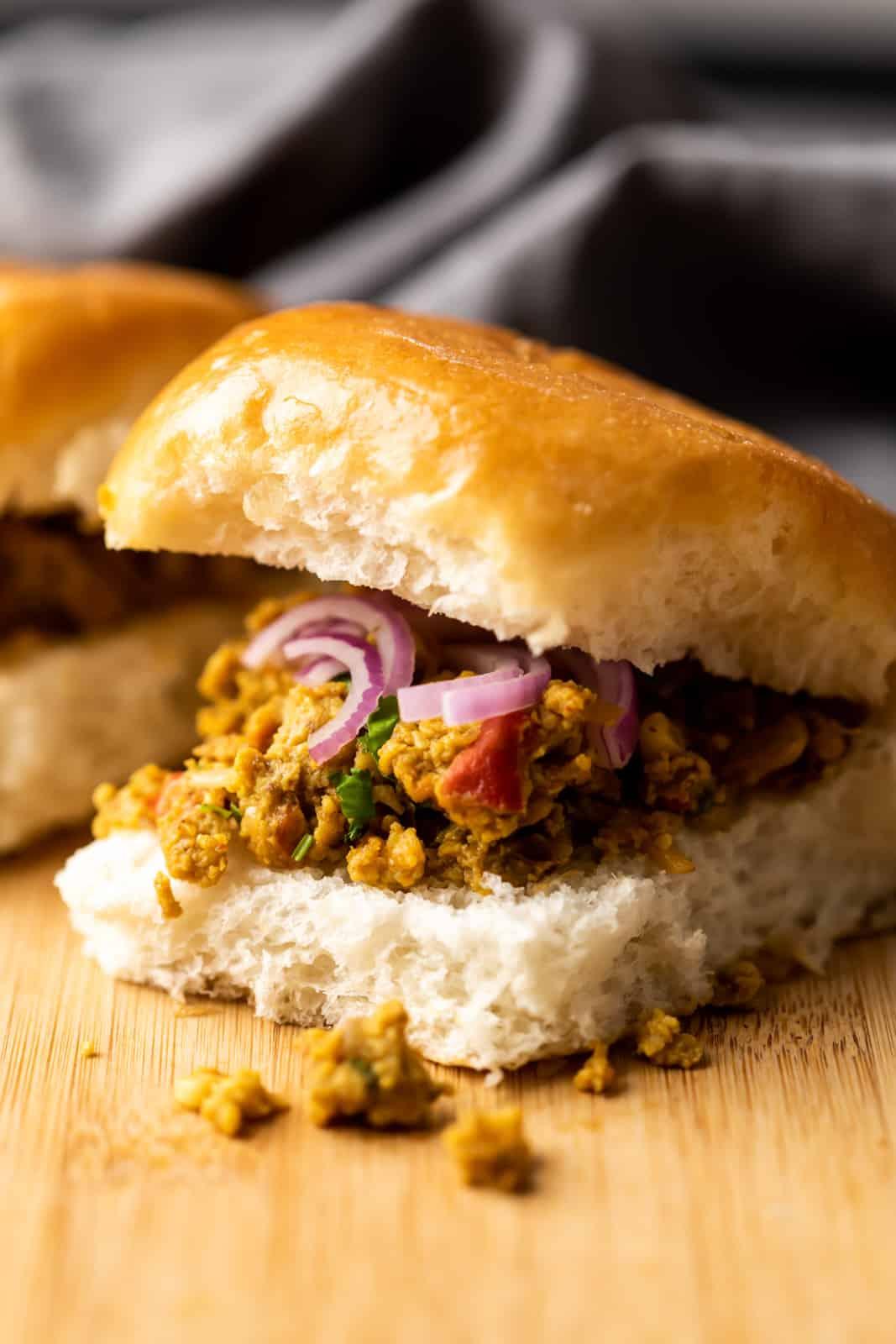 Street style egg bhurji pav sandwich