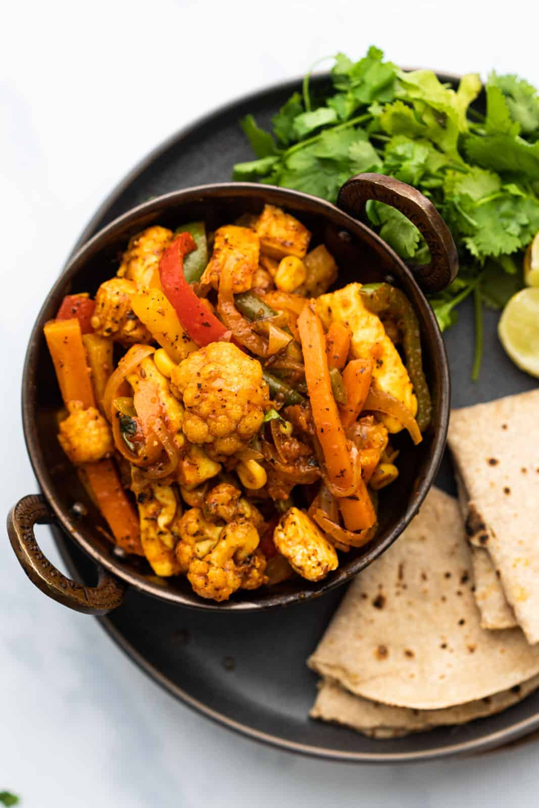 Vegetable Jalfrezi served with rotis