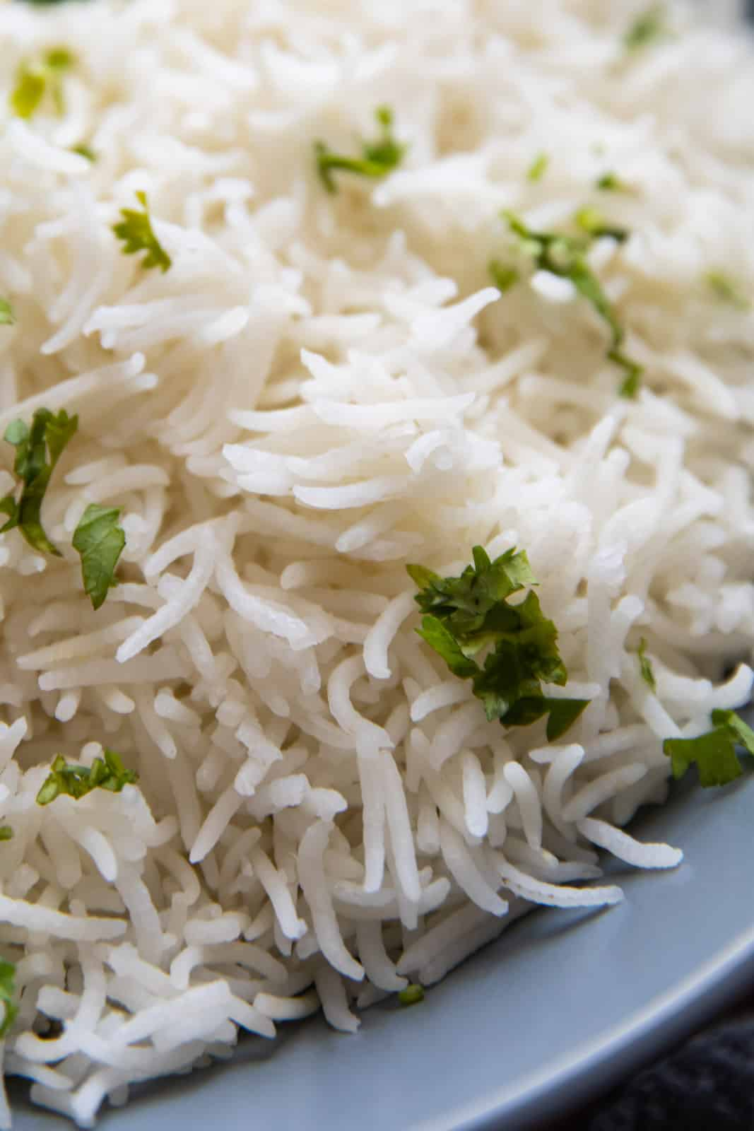 Closeup of basmati rice served in a bowl