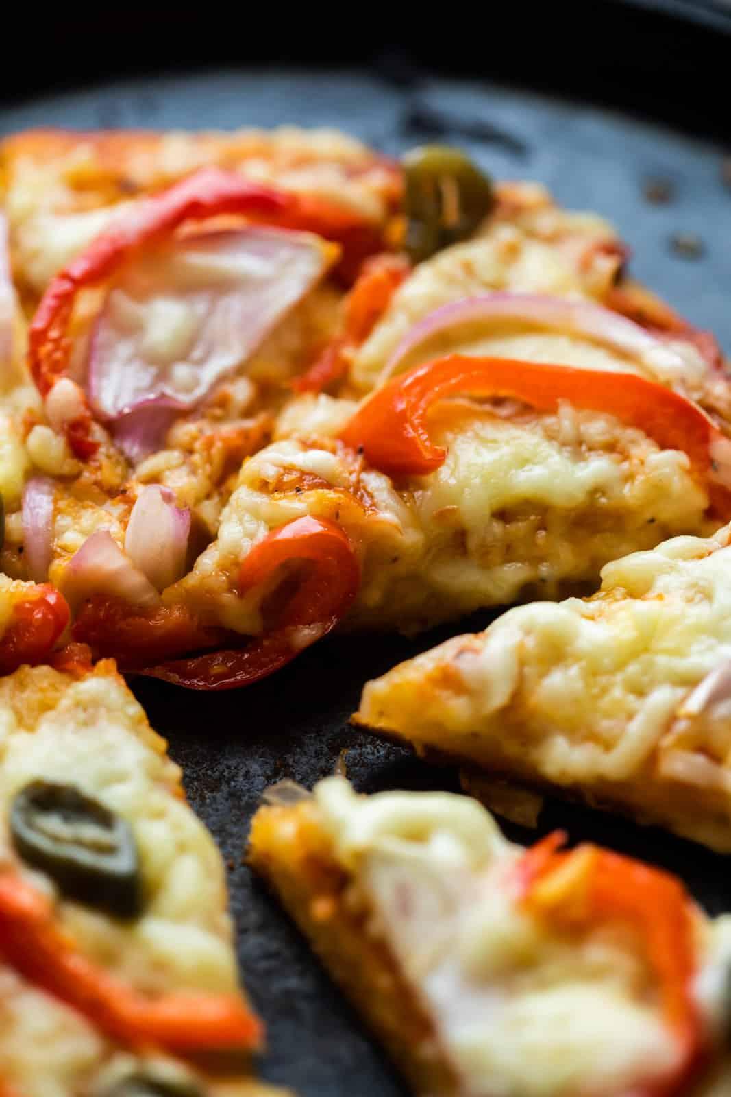 Closeup of no yeast pizza