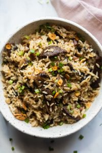 Burnt garlic mushroom fried rice served in a white bowl