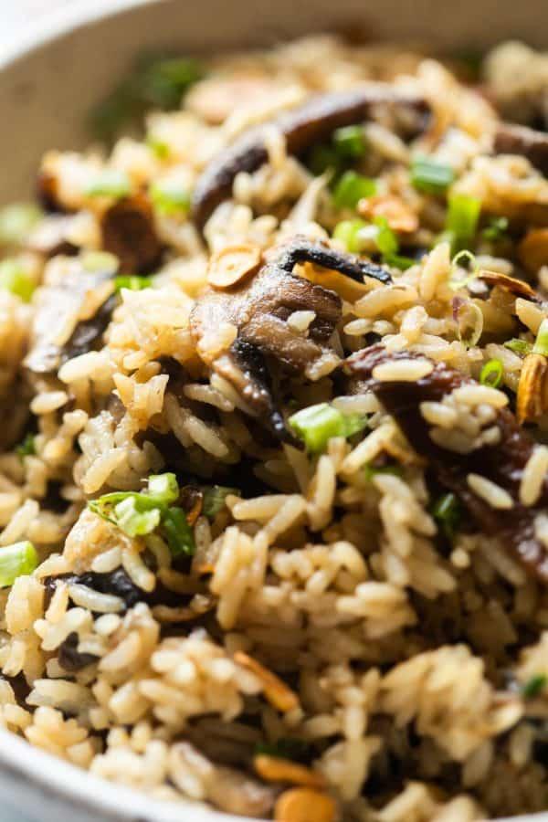 closeup of burnt garlic mushroom fried rice