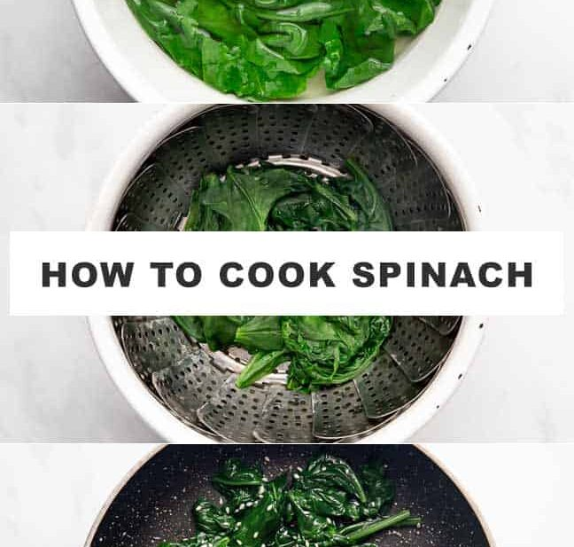All three methods of cooking spinach shown in the picture as a collage with text overlay