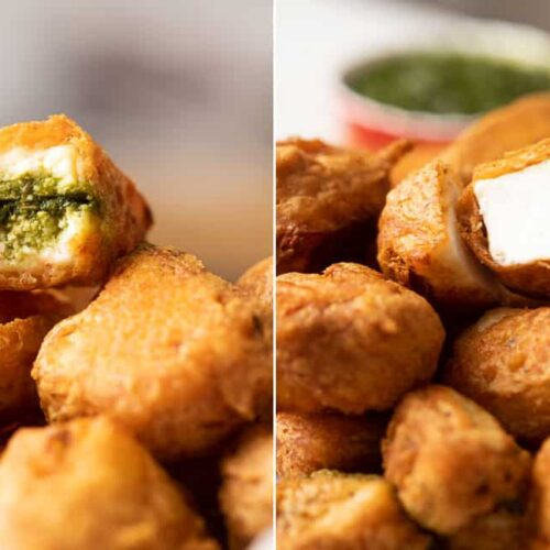 Paneer pakora photographed two ways