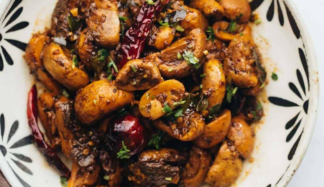 Mushroom pepper fry served in a bowl