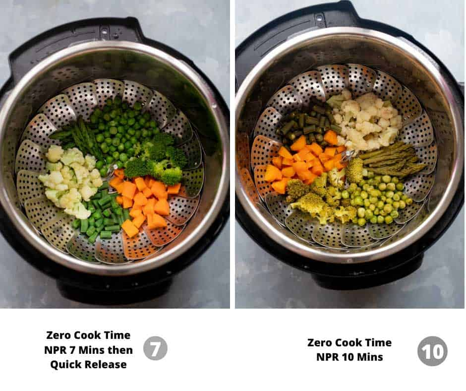 Comparison of different pressure release times in the instant pot using zero minute cooking