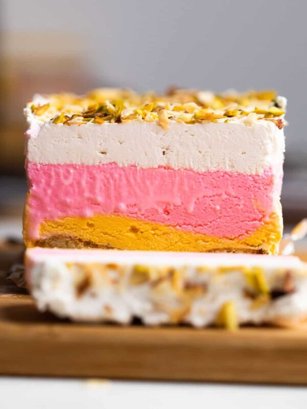 Classic Cassata sliced on a worktop showing all the four layers