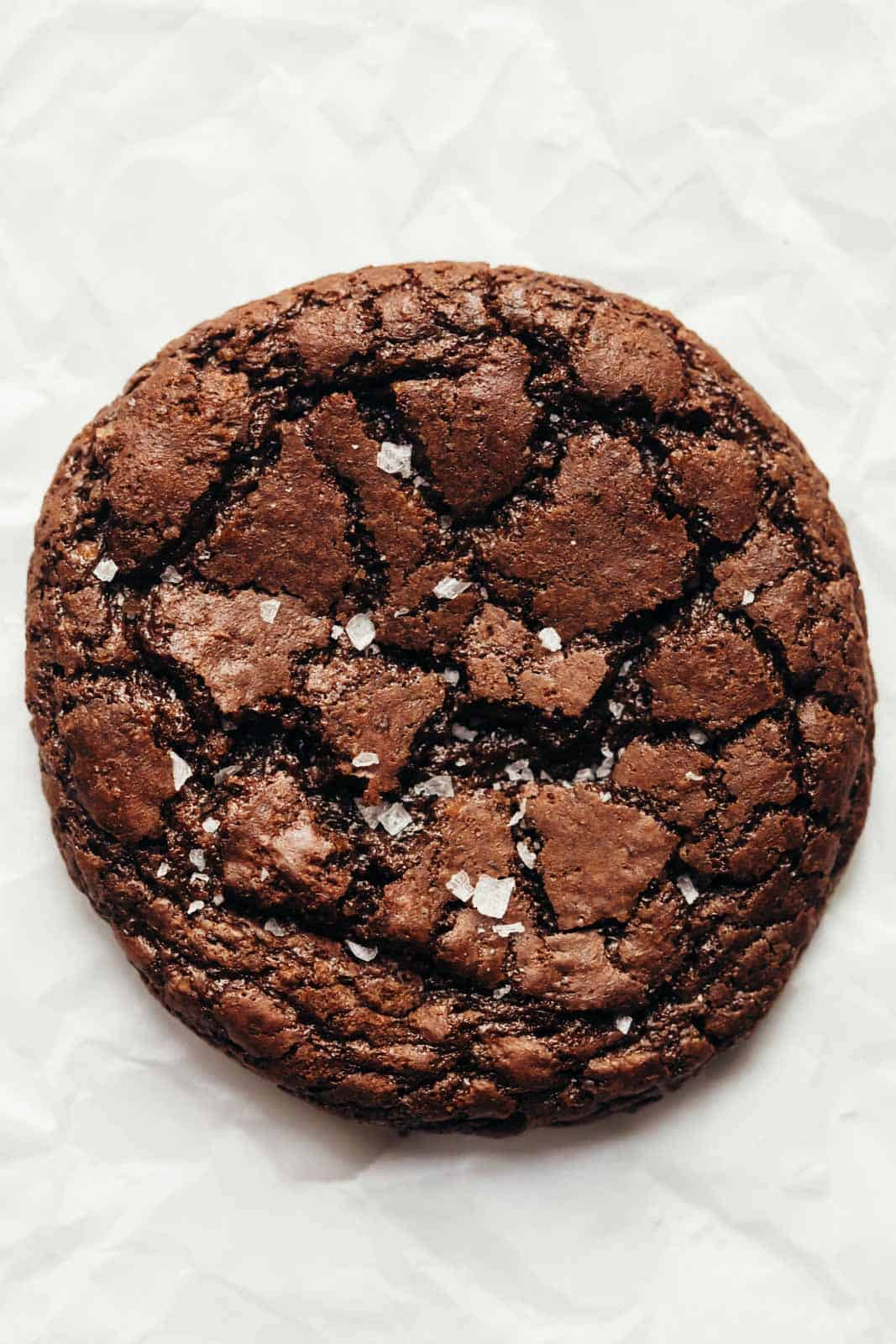Closeup of a single cookie sprinkled with sea salt