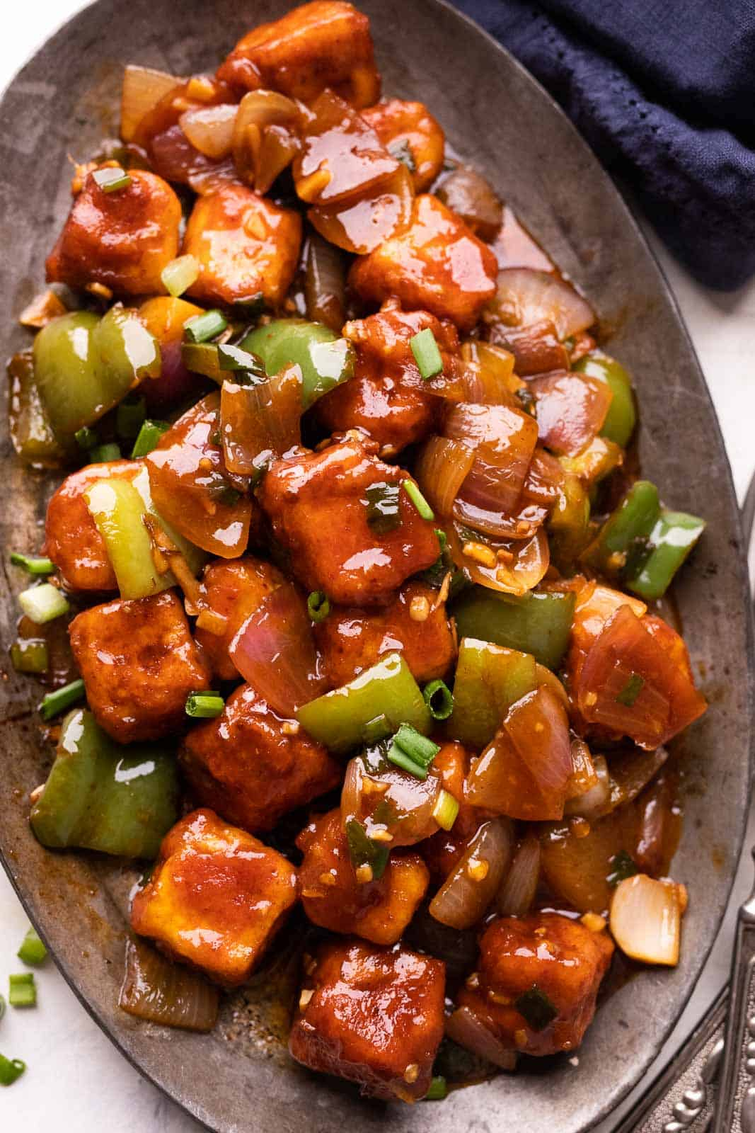 Chilli Paneer served on a platter