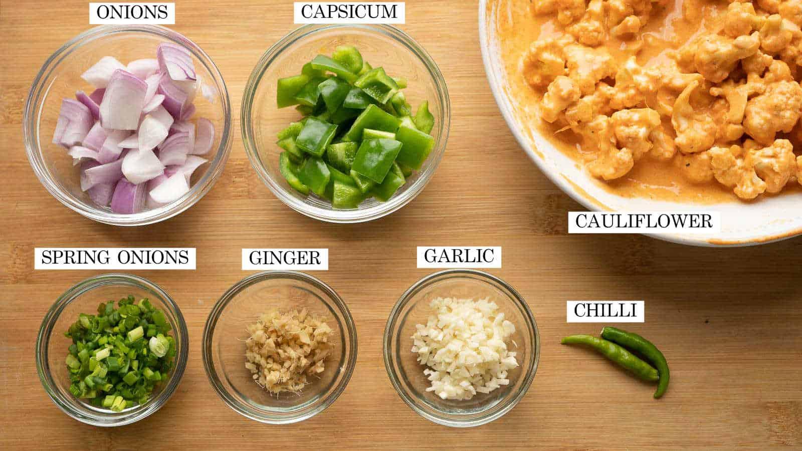Aromatics, vegetables required to make gobi manchurian