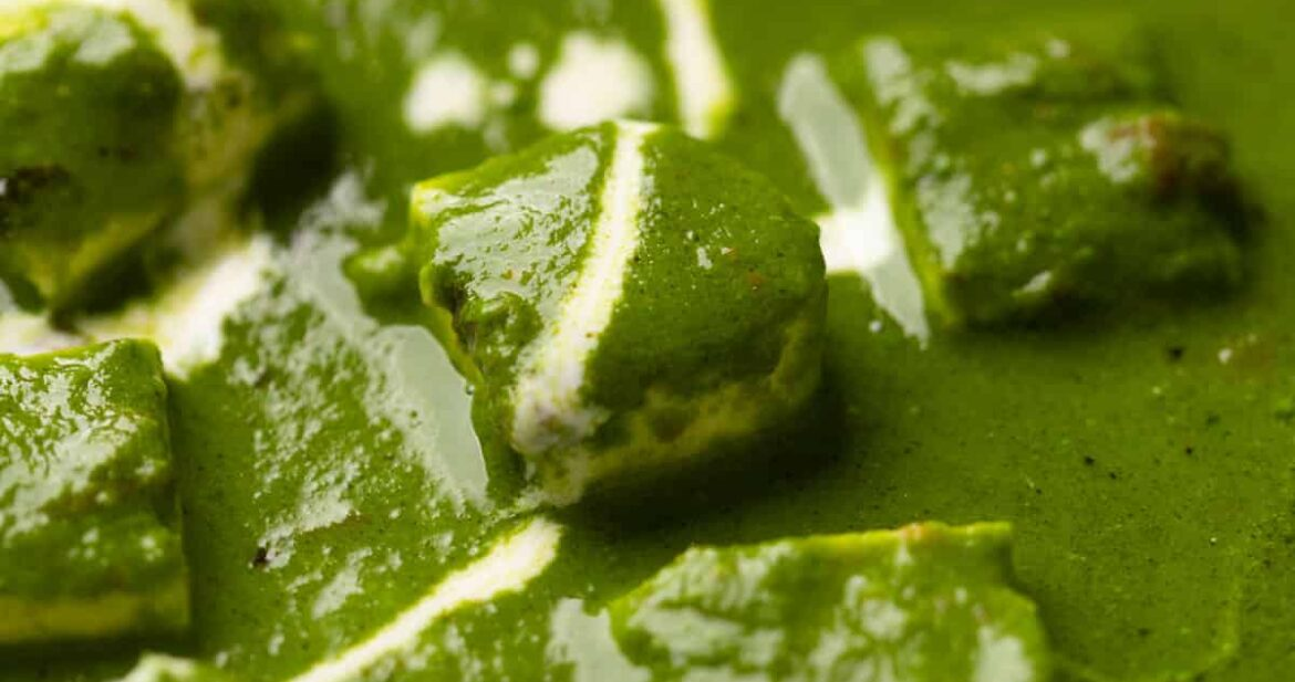 Closeup of palak paneer with cream drizzled on top